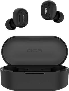 QCY Audifonos Bluetooth 5.0 con Funda de Carga 800 mAh, T1s Auriculares inalámbricos Deportivos con Micrófono, Total 36 Horas Playtime, para iPhone Samsung iPad y Teléfono Android- Negro