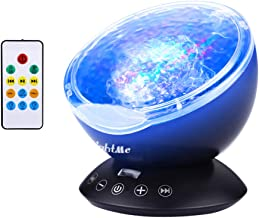 LightMe Colorful Ocean Wave Projector, Touch Sensor 12 LED & 7 Color Night Lights with 4 Hypnotic Musics & Remote Control in Living Room Bedroom for Baby Kids Adults (black)