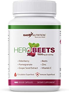 Sponsored Ad - Organic Beet Root Capsules - Boosting Supplement with Elderberry, Pomegranate, Grape Seed Extract. Gluten-F...