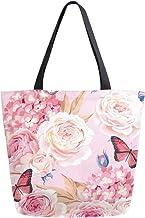 HMZXZ RXYY Blumen- Blume Rose Muster Segeltuch Tasche Schwer Pflicht Groß Frauen Beiläufig Schulter Tasche Handtasche Wiederverwendbar Einkaufen Tasche Bag für Draußen Reise