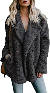 Womens Lapel Faux Shearling Coat Jacket Parka Button Up Overcoat Plush Open Front Coat Outwear