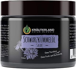 Kräuterland - Schwarzkümmelöl Salbe 110ml - Creme im hochwertigen Glastiegel - Pflege für trockene und spröde Haut