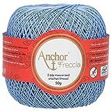 Anchor Freccia - Gomitolo di filo da uncinetto, 100% cotone, spessore 12, Cotone, 00130 blu, Blu