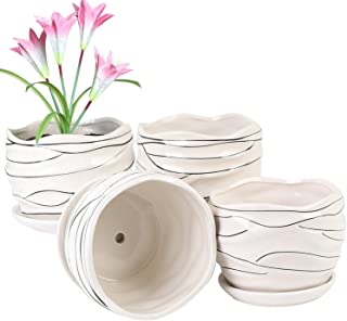 Plant pots - 4.3-inch Cylindrical Ceramic Planters with Connected Saucer, Round Modern Ceramic Garden pots - Succulent Med...