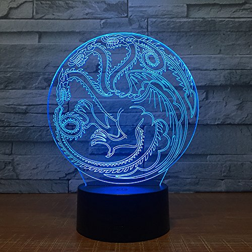 Nocturna Lámpara Dragon Totem 3D Led Light Laser Acrílico Night Light Con Control Remoto Táctil...