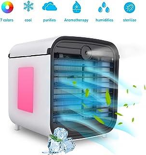 Hisome Aire Acondicionado Móvil Mini Enfriador de Aire Evaporativo 3 en 1 Ventilador, Humidificador, Purificador de Aire y Difusor de Aroma 3 Velocidades 7 Colores Luces LED para Casa/Oficina