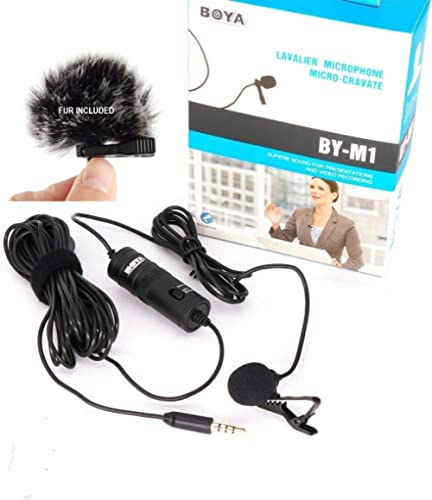 BOYA BY-M1 3.5mm Lavalier Condenser Microphone with AriMic Windscreen Windshield for iPhone 7 Plus Smartphones, Dslr,...