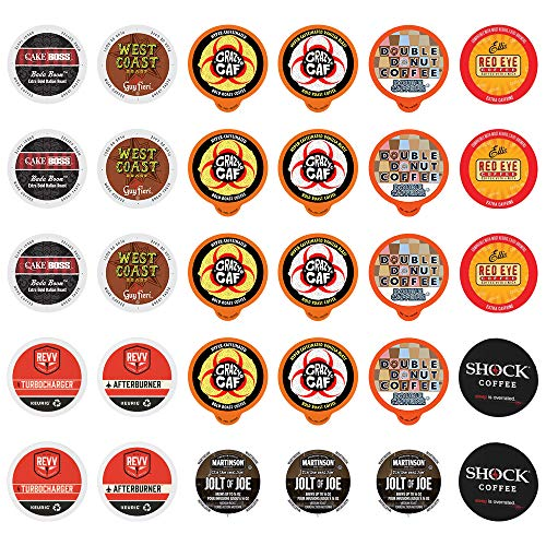 High Caffeine Coffee Pods Variety Pack - Sample The Strongest Coffee From the Top Brands with Our Extra Caffeine Sampler of 30 Coffee Pods Compatible with Keurig K Cup Coffee Makers