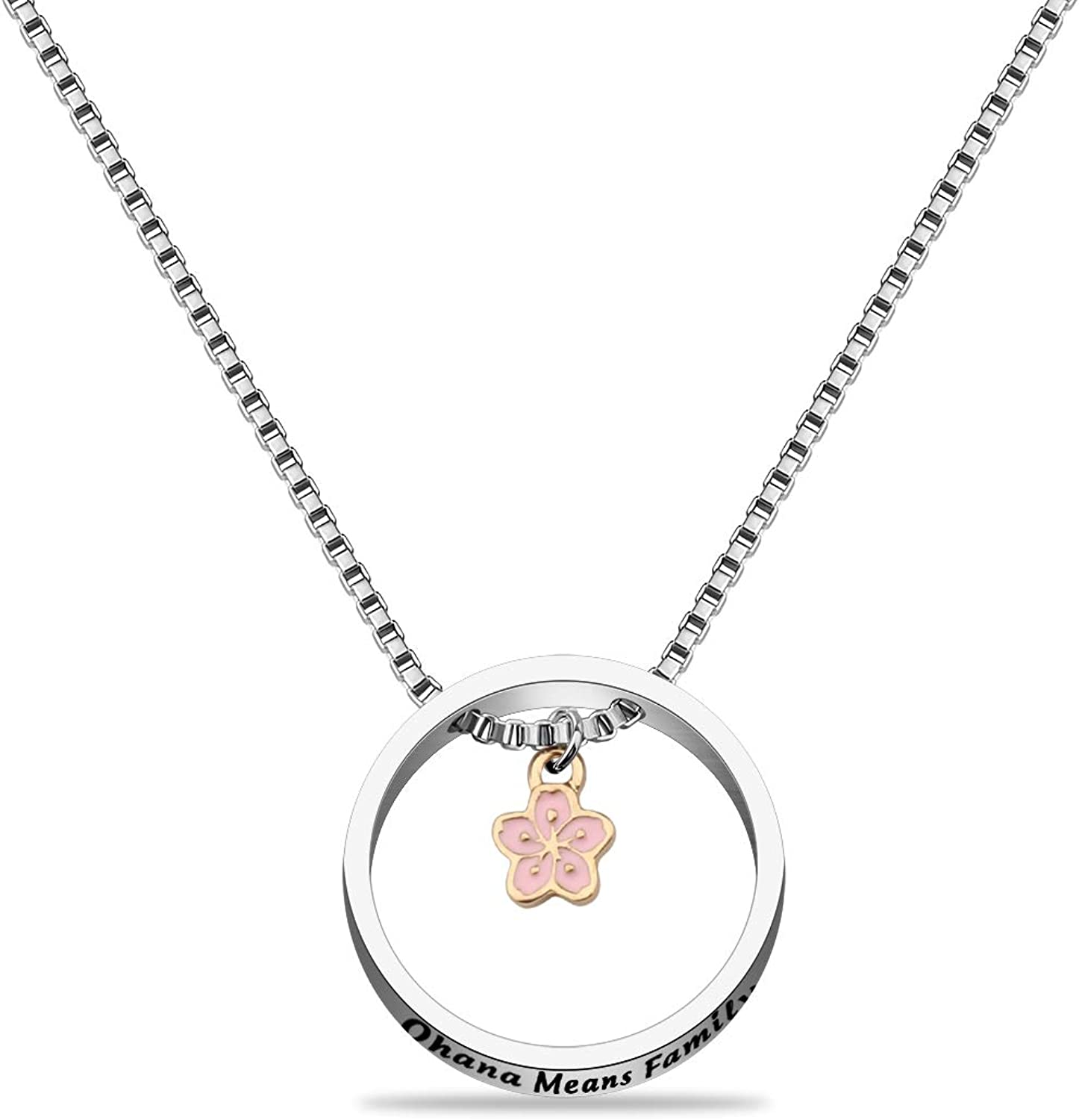 WUSUANED Ohana Means Family Hibiscus Tampa Mall Necklace Je Flower 4 years warranty Hawaiian