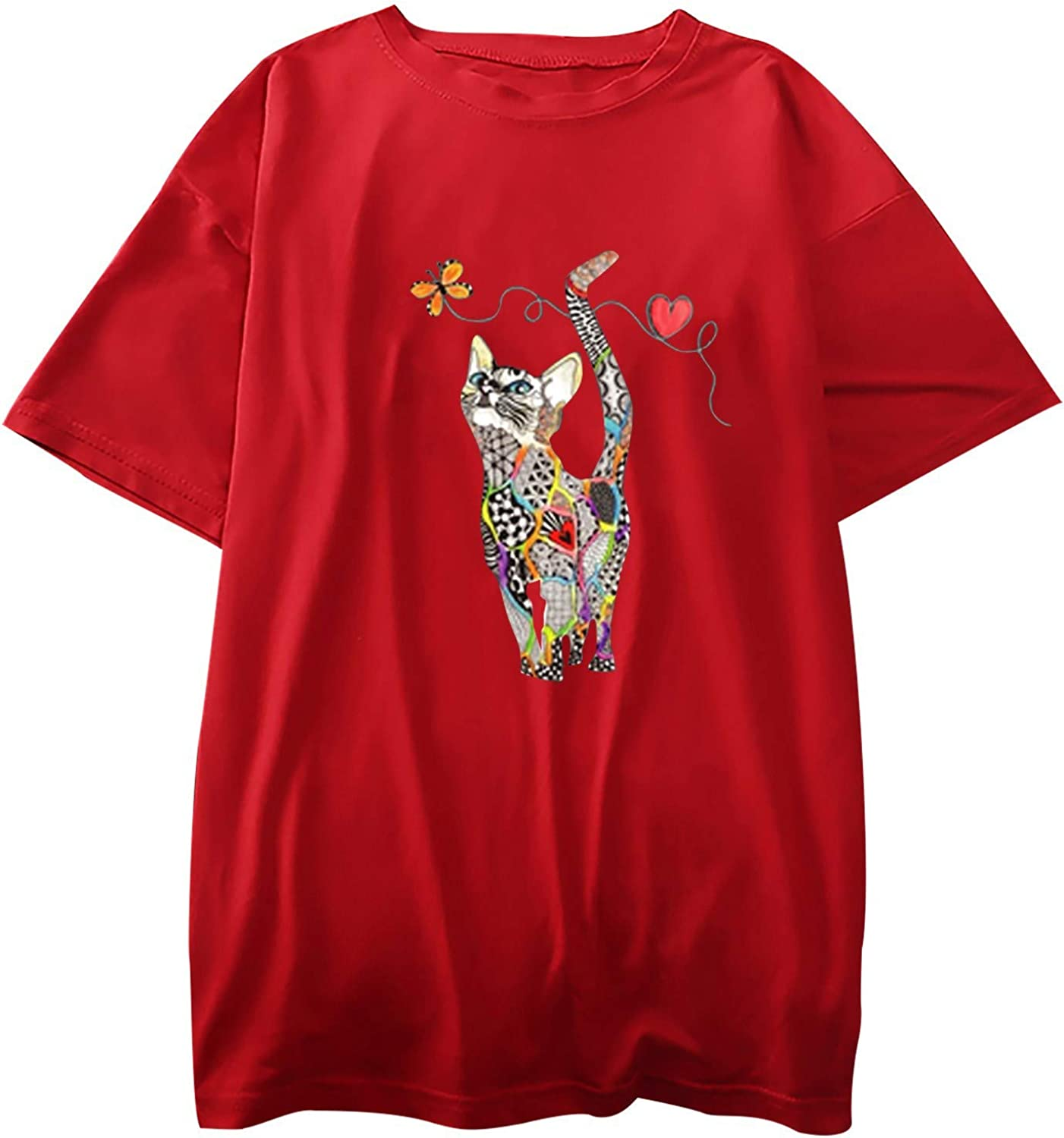 Valentine's Day Shirt for Womens Cute Cat T-Shirt Love Heart Printed Shirts Short Sleeve Graphic Tees Tops Summer