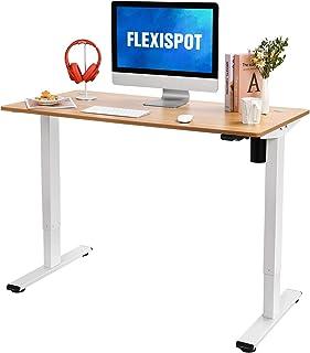 FLEXISPOT 電動式昇降デスク EG1-Light(幅120×奥行60,軽さ重視)パソコンデスク 人間工学 スタンディングデスク (足白+天板メイプル)