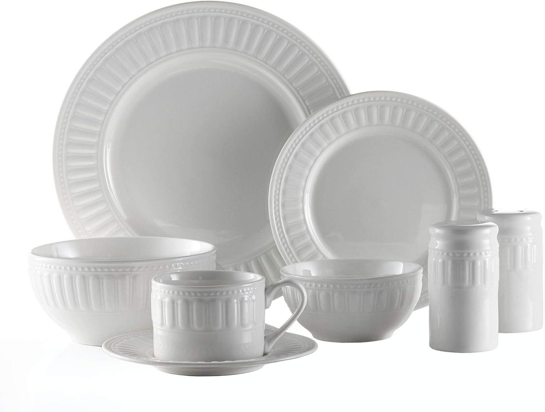 American Atelier 6377-50-RB Sparta 50 Piece Round Dinnerware Set 10.5x10.5  White