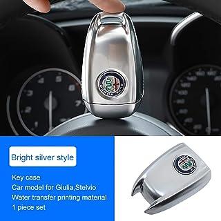 QHCP ABS Carbon Fiber Style 3D Logo Car Smart Remote Key Fob Cover Case Replace for Alfa Romeo Giulia Stelvio (Bright Silver)