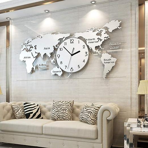 YIHENGRUI Weltkarte Wanduhr Modernes Design Große Wanduhr Für