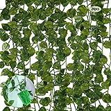 guansheng Plantas Hiedra Artificial, 24 Pcs Plantas Artificial Decoración Hojas Guirnalda de Hojas...