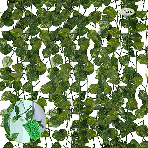 guansheng Plantas Hiedra Artificial, 24 Pcs Plantas Artificial Decoración Hojas Guirnalda de Hojas de Hiedra Artificial Hiedra Planta Colgante,para Oficina jardín Fiesta decoración de Pared