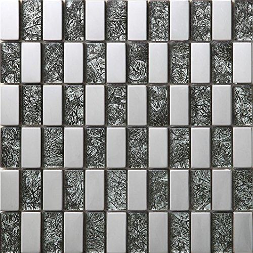 Stile moderno Mosaico a colori misti Vetro e acciaio inox mosaico mattonelle arte della parete In particolare modello 300*300mm--Cucina Backsplash/Parete da bagno/decorazione domestica(SA049-27/29)
