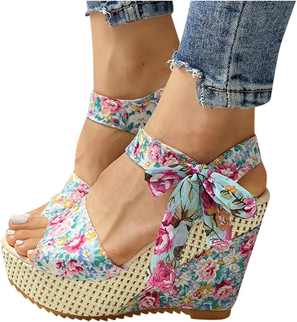Eduavar Sandals for Miami Mall Women Wedge 2021 Strap Ankle Fashion Chicago Mall Womens