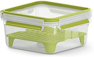 Emsa N1071700 Clip&Go Sandwichbox XL (Fassungsvermögen: 1, 3 Liter, quadratisch, inkl. Gittereinsatz) transparent/hellgrün