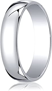 Men's 14K White Gold 5mm Low Dome Light Comfort Fit Wedding Band Ring