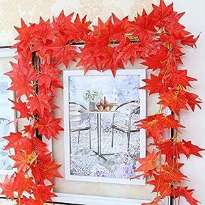ILOVEDIY 2.4M Guirlande Feuilles d'automne Artificielle feuille érable Guirlande Feuille de Vigne Mariage Home Jardin Noel Decor (2.4Meters)