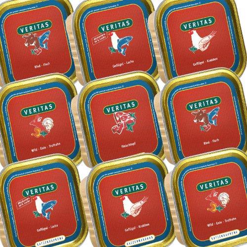 veritas Katzenmenü Mix Katzenfutter nass – 5 Gourmet Sorten Nassfutter für Katzen I Geflügel Fisch Rind Wild Ente Huhn - Katzennassfutter (28x200g)