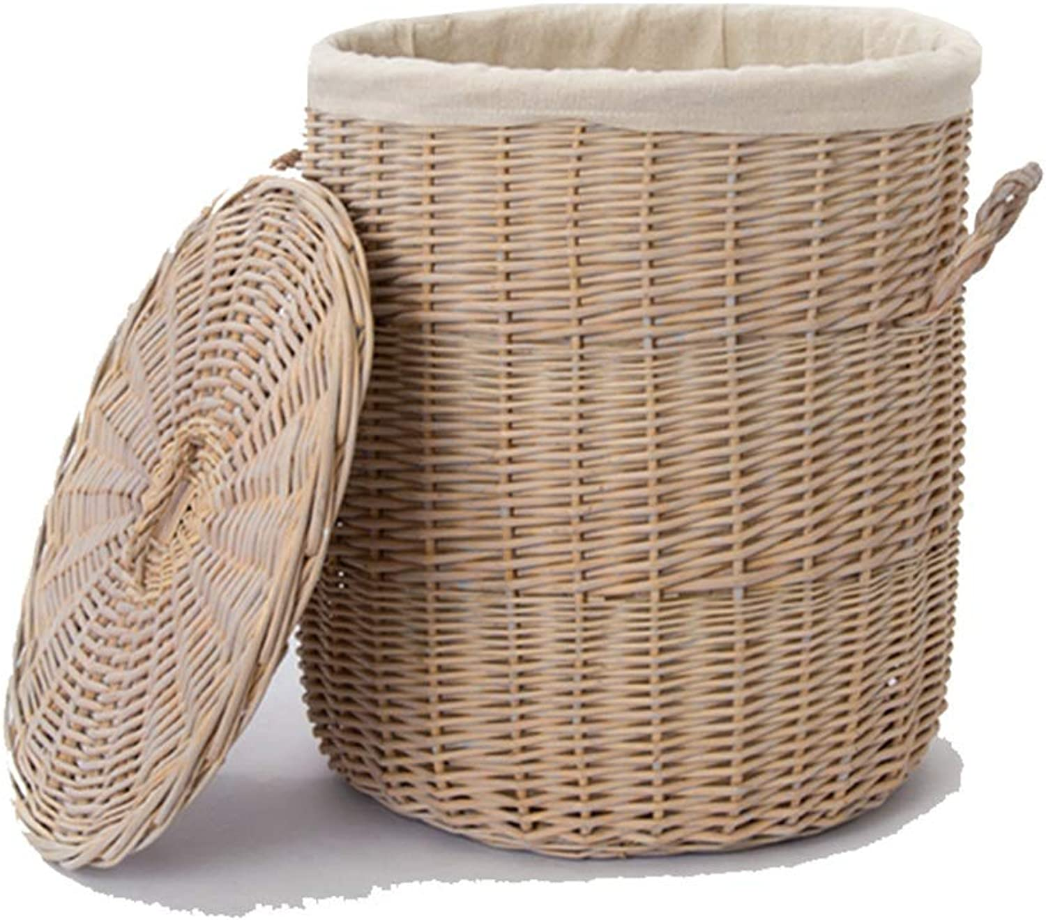 ZHANGQIANG Storage Basket Laundry Basket Laundry Hamper Multifunctional with Lid Hollow Household Storage Basket Wrought (color   Wood color, Size   37  42)