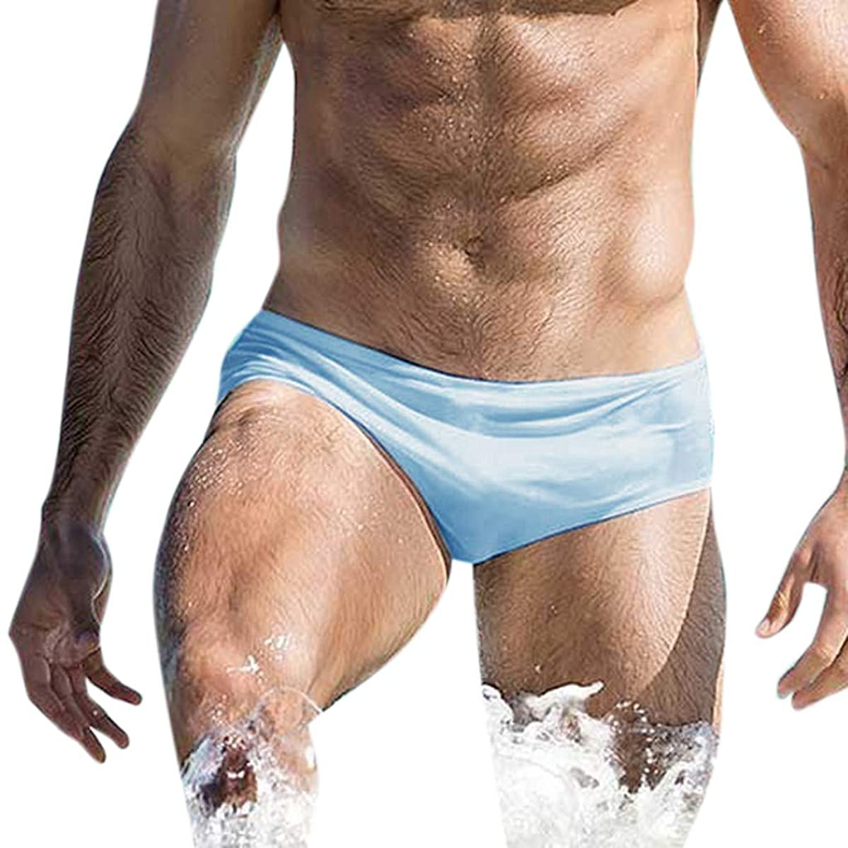 Men's Triangles Trunks | Solid Color Close-fitting Arena Swim Shorts Men's Ultrathin UV Protection Chlorine Resistant Swimming Pants Watersports Quick-drying beach pants for swimming surfing S-XL