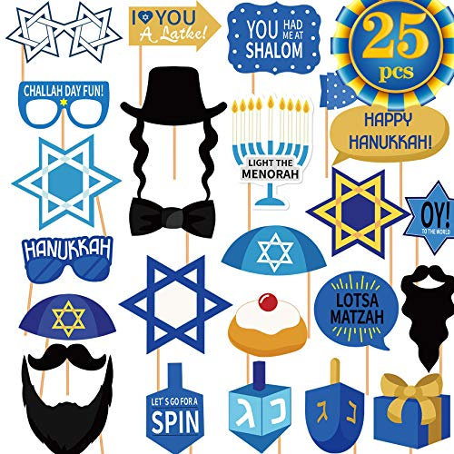 Hanukkah Party Photo Booth Props Happy Hanukkah Party Decorations Hanukkah & Chanukah Photo Booth Props Kit Chanukah Party Favor for Holiday Party Fun Hanukkah Party Supplies