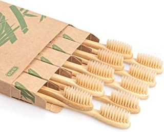 Biodegradable Reusable Bamboo Toothbrushes, LMVH Wooden Toothbrushes Organic NaturalEco-Friendly BPA Free Bristles - 10 Pack