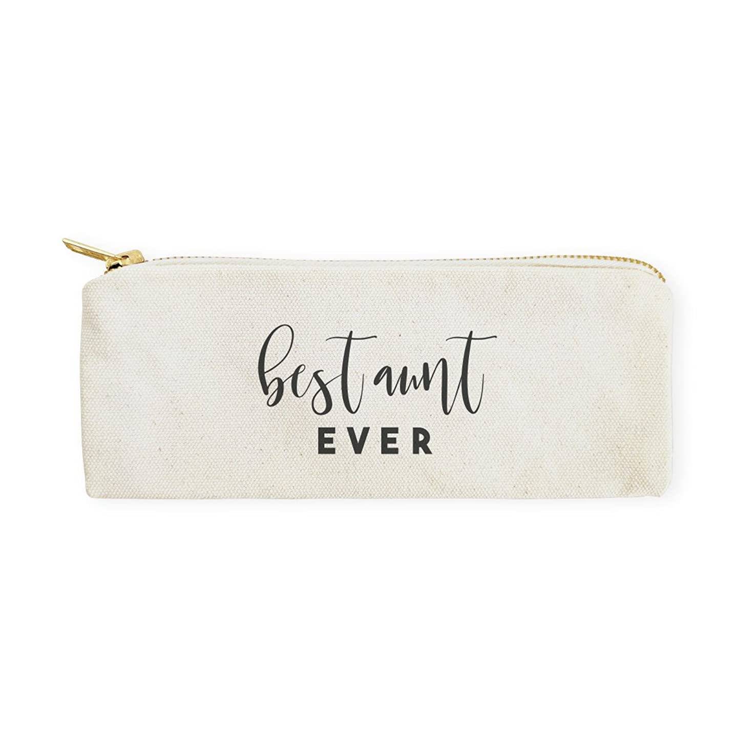 The Cotton & Canvas Co. Best Aunt Ever Pencil Case, Cosmetic Case and Travel Pouch for Office and Back to School