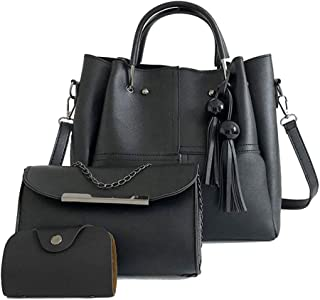 مجموعة حقيبة يد نسائية من الجلد من JAGETRADE من 3 قطع مصنوعة من شراشيب كتف حقيبة يد كبيرة من الجلد