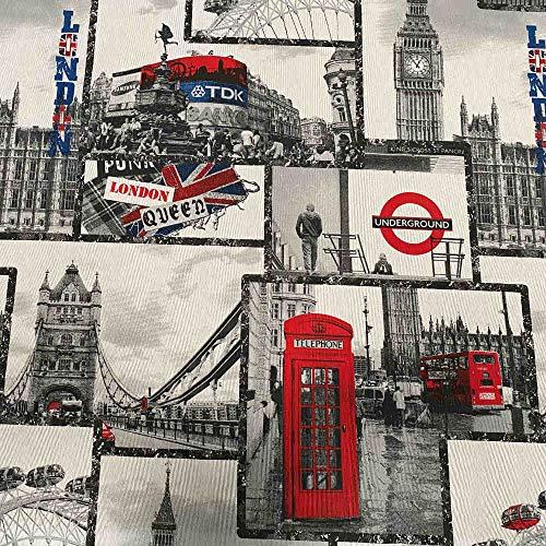 Kt KILOtela Tela de loneta Estampada Digital - Retal de 100 cm Largo x 280 cm Ancho | Londres Monumental - Azul, Rojo, Negro, Blanco ― 1 Metro