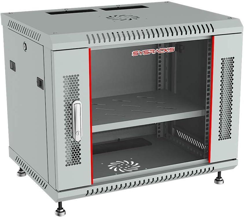 Sysracks - Server Rack - Wall Cabinet - 6 U Wall Mount Rack Enclosure with Fans - Audio Rack - Network Rack - 24 Inch Depth AV Cabinet - Feet - PDU - Shelf - Locking Cabinet - Gray