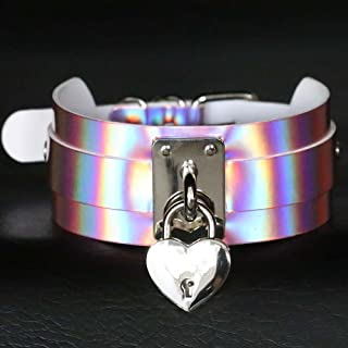 TM PU Leather Choker Necklace Gift for Women Holographic Choker Heart Metal Laser Collar Chocker Fashion Jewelry Spikes Torques Gold Gigamax