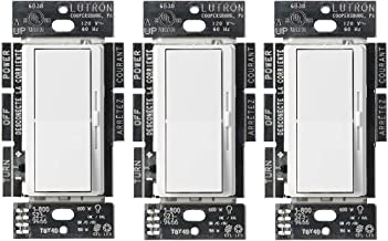 Lutron Diva C.L Dimmer for Dimmable LED, Halogen and Incandescent Bulbs, Single-Pole or 3-Way (3 Pack), DVCL-153P-WH, White