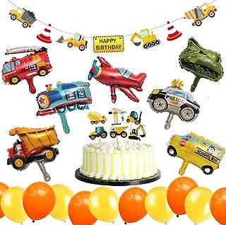 Deco de Fiesta de cumpleaños de 32 Piezas BAU: Globo de vehículos, Pancarta de Feliz cumpleaños, Adornos de Torta y Globos para niños Sitio de construcción de cumpleaños Suministros para Fiestas