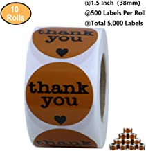 Aleplay 1.5 Inch Round Brown Thank You Stickers with Black Heart 500 Adhesive Label Per Roll (10 Rolls)