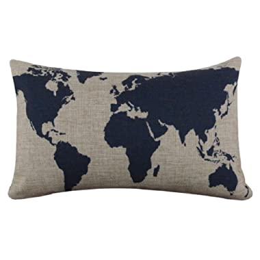 VESNIBA Burlap Linen Dark Blue World Map Decorative Cushion Cover Pillow Case