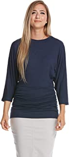 Women's Ruched Top - Tummy Control - Slimming - 3/4 Dolman Sleeve - Dahlia
