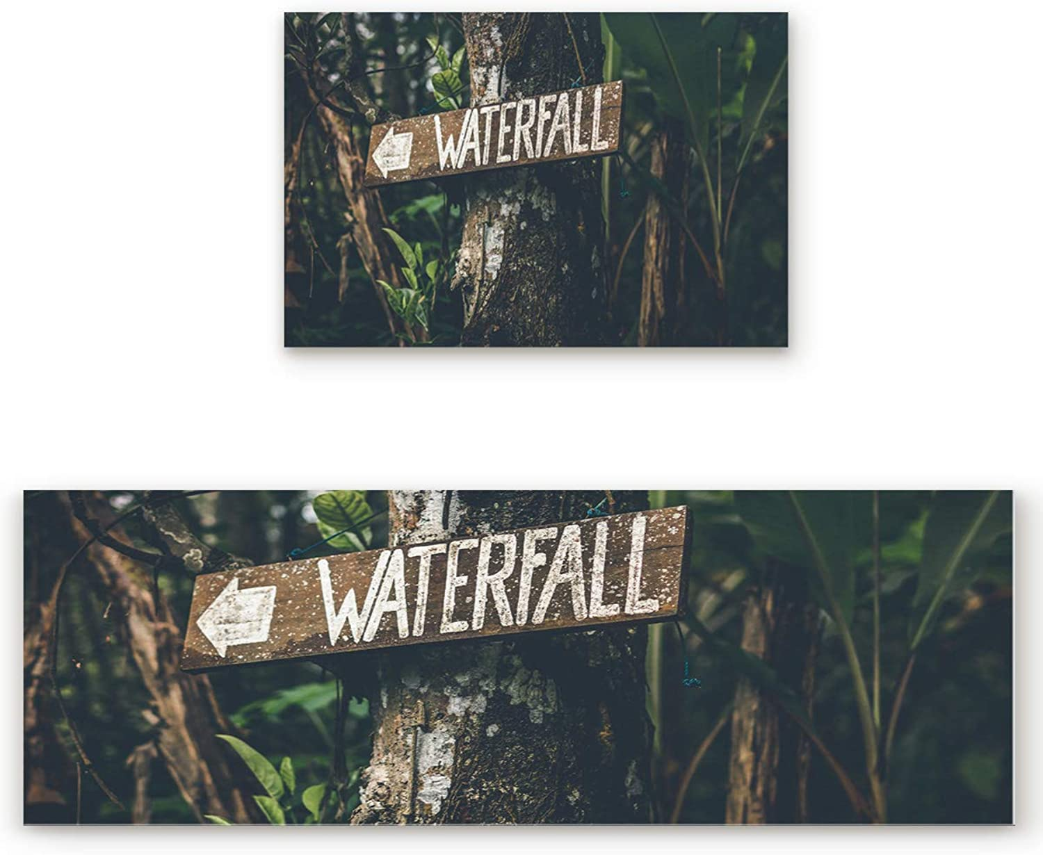 Savannan 2 Piece Non-Slip Kitchen Bathroom Entrance Mat Absorbent Durable Floor Doormat Runner Rug Set - Tropical Thailand Botanical Garden Signpost Waterfall
