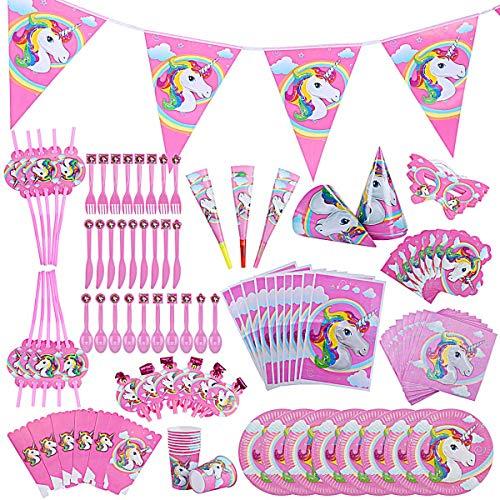 145 Pcs Fournitures de décoration de fête Licorne,Unicorn Ensemble d'anniversaire pour Les Filles garçons Enfants bannières fête d'anniversaire Vaisselle décorative