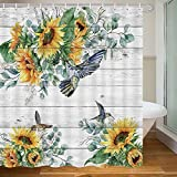 MERCHR Rustic Farmhouse Sunflower Shower Curtain, Country Floral Hummingbird Botanical Plant Leaves On Gray Wooden Fabric Shower Curtains, 71X71 Inch