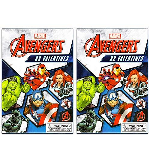 Paper Magic 64 Count Marvel Avengers Kids Classroom Valentine Exchange Cards - Captain America Iron Man Hulk Thor Superheroes