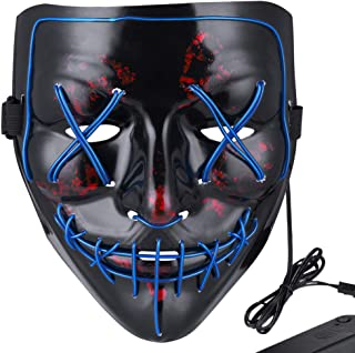 Halloween Mask LED Light Up Mask for Festival Cosplay Halloween Costume