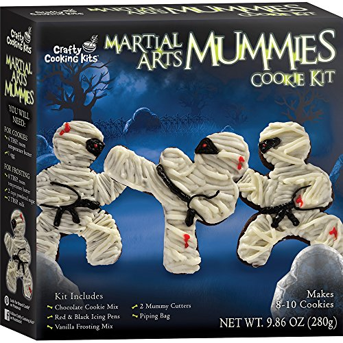 CRAFTY COOKING KITS Martial Arts Mummies Cookie Kit, Includes Chocolate Cookie Mix, Vanilla Frosting Mix, Piping Bag, Cookie Cutters, and Icing Pens, 9.86 oz