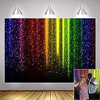 新しいLet sグローパーティー装飾レトロディスコ音楽ダンスダンス写真背景7x5ftビニールカラフルな虹輝くキラキラネオンスプラッタ写真の背景写真ブーススタジオ小道具