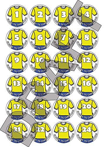 Party People 24, 48 o 72 calcomanías navideñas de Calendario de adviento - Diseño de Camiseta de fútbol - Amarillo / Azul, números con Duerme hasta Navidad (24)