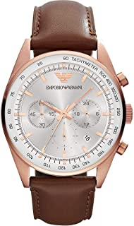 Emporio Armani Sportivo Men's Silver Dial Leather Band Watch - Ar5995, Analog Display, Swiss Quartz Movement
