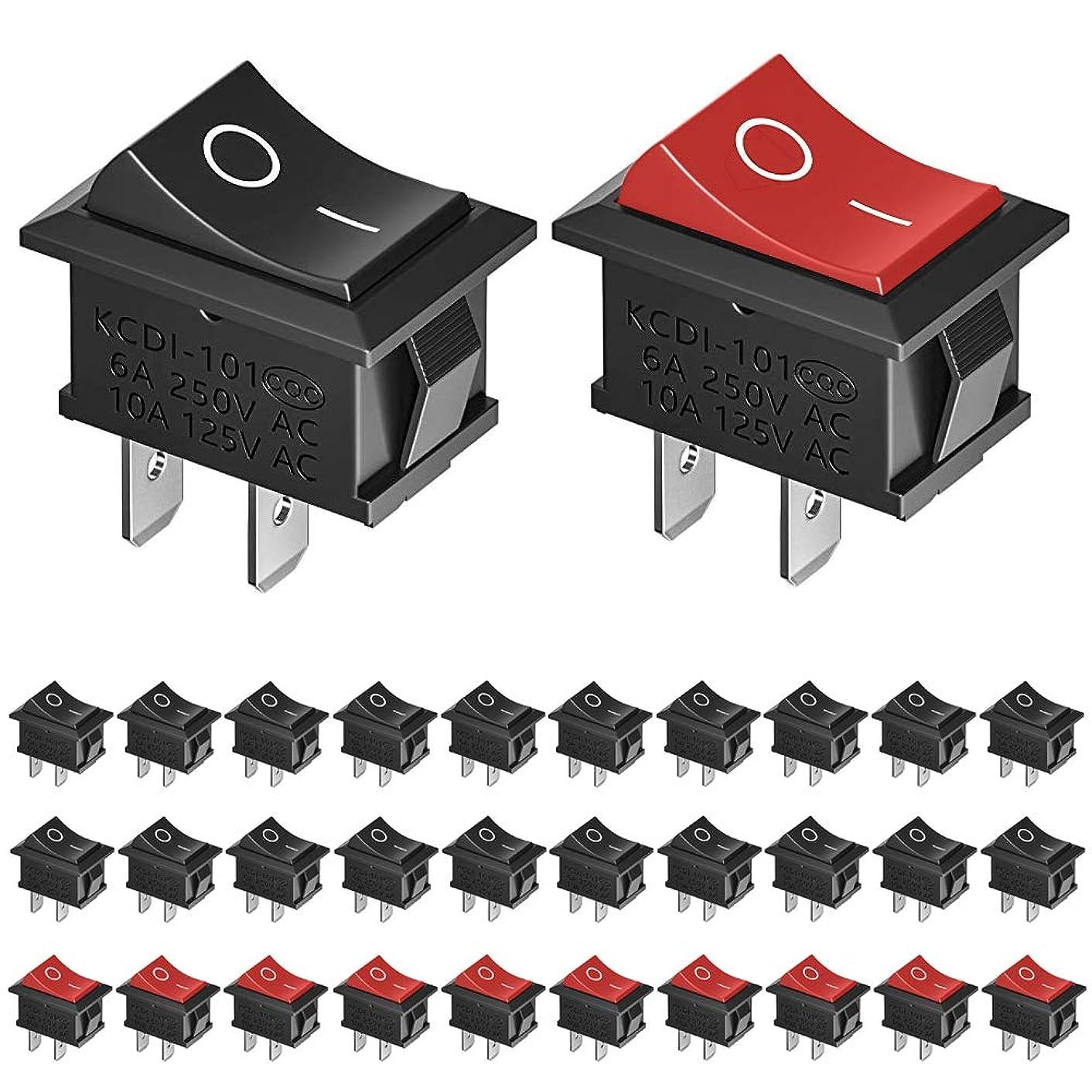 イソギンチャク誘導大胆KeeYees ロッカースイッチ 長角型 SPST オン/オフ AC 6A/250V 10A/125V 2P I/O 赤10個 黒20個 合計30個入り